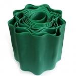 Бордюрная лента декоративная, гофрированная, зелёная, (15см х 9м)